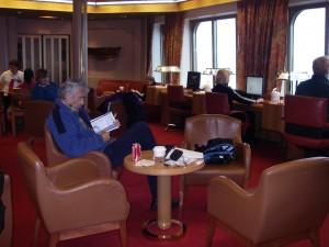 I biblioteket på MS Veendam