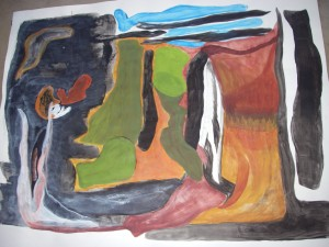 En av mna abstrakta akvareller från Gerlesborg 2010