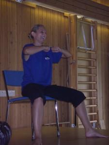 En av gympainstruktörerna i Vejbystrand sept 2011