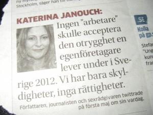 Katerina Janouch uttalade sig i GP