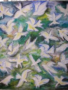 Vita fåglar i djungeln akryl 130x150 Pris: 3.750:-