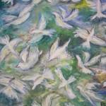 Vita fåglar i djungeln akryl 150x130 Pris: 5.200:-