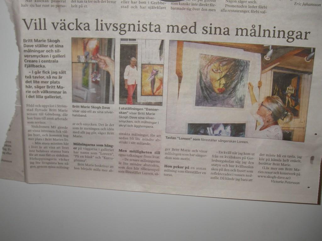 Artikel i Strömstads Tidning om utställningen