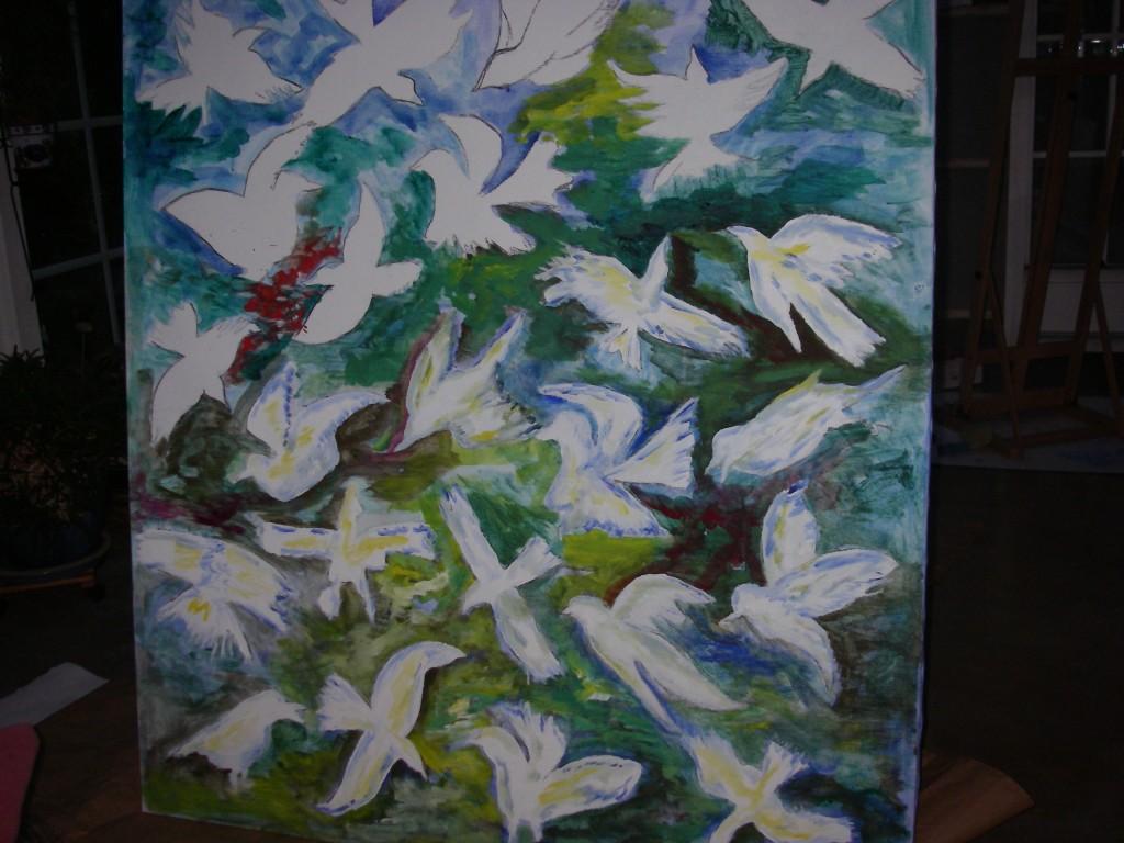 Fågelmålning som välkomnar under pergolan