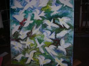 Egen fågelmålning t.v utan namn