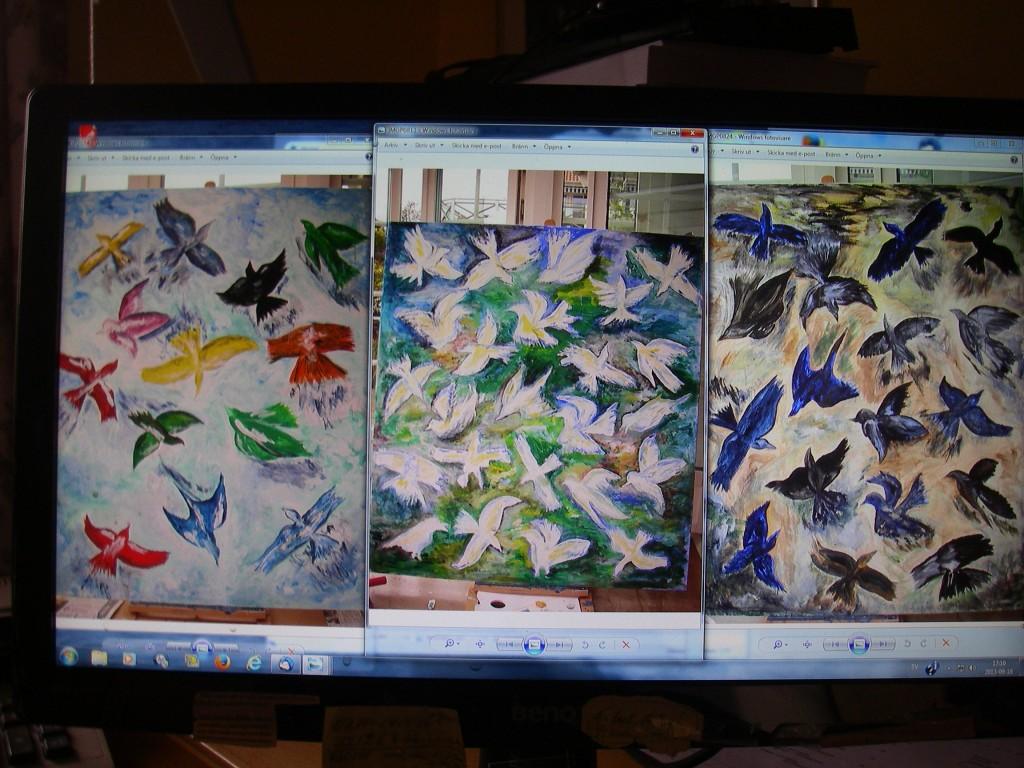 De tre stora fågelmålningarna