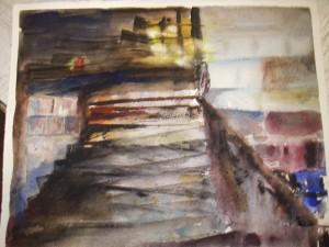 En trappa upp.  Akvarell av mig själv