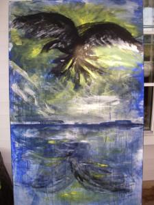Raven - egen akrylmålning
