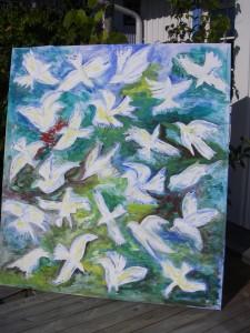 Vita fåglar i djungeln - egen akrylmålning