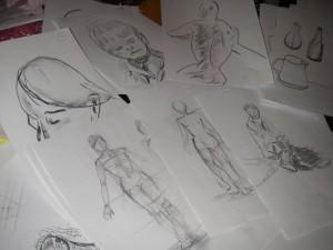 Teckningar för ansökan till konstskolan