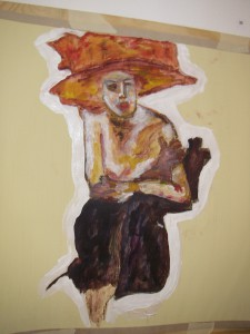 """En av mina gamla målningar: """"Ibland vill man bara kura ihop sig"""""""