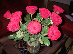 Röda rosor på födelsedagen från min högst älskade man