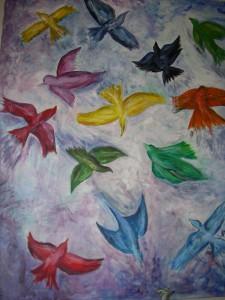 Egen målning med titeln: Här får alla plats i mina fågla
