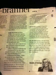Artikel i GP av Carin Hjulström om trochanterit