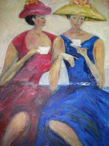 """""""Min väninna o jag"""", min målning efter en bild från min syster"""