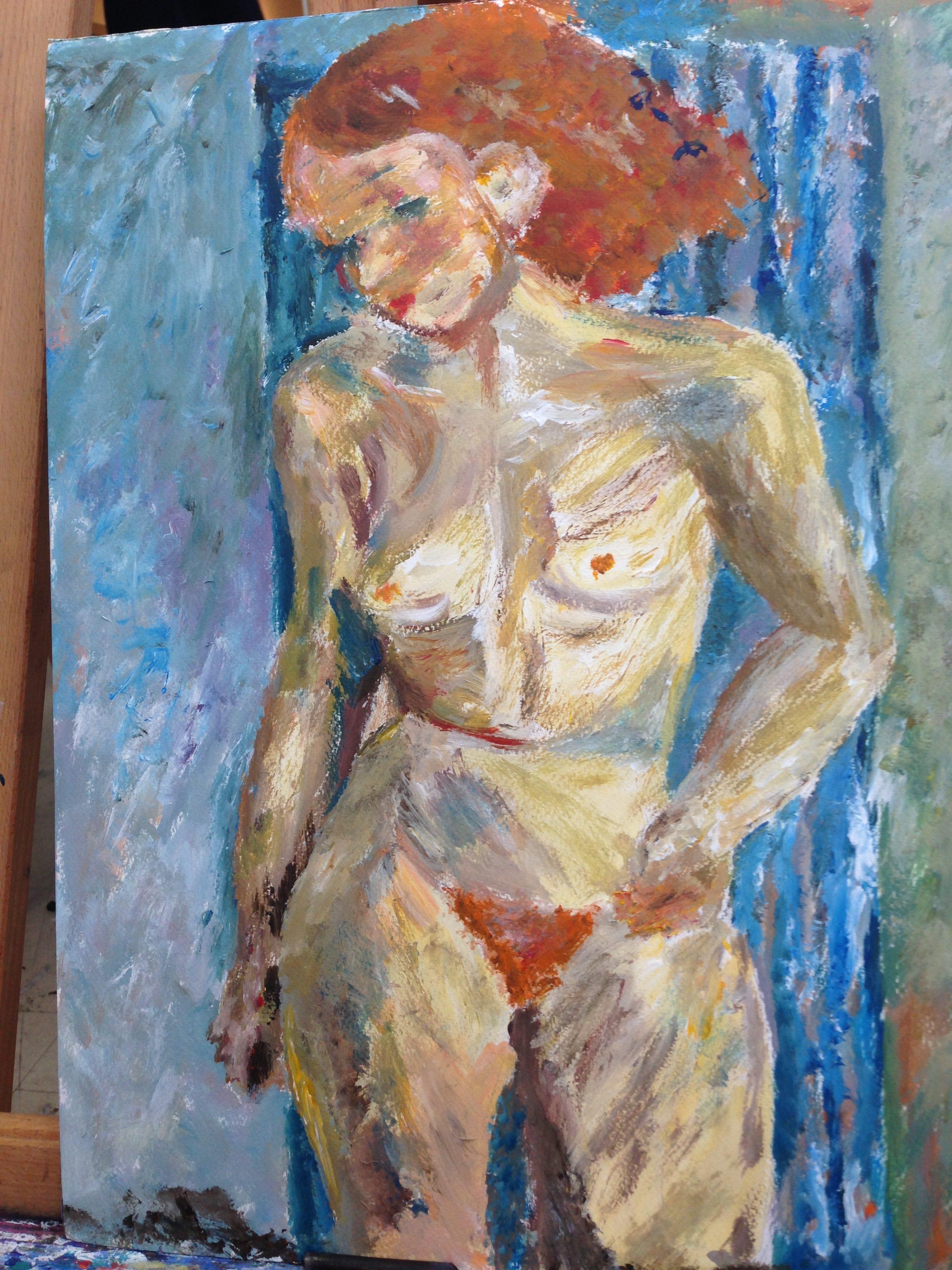 Rödhåriga damen (parafras insp av Inge Schiöler) olja på duk 92 x 73 cm Pris 900:-