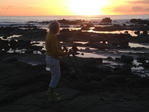 På pumpstavsprommis vid soluppgången