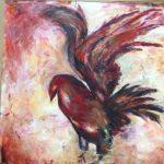 Red Bird akryl 95x95 cm Pris 5.000:-