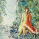 Vid bäcken Akryl 45x38 cm Såld