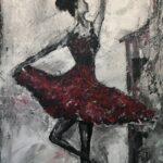 Ballerinan på bakgården olja 70x40 cm Pris 2.500:-