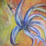 Orkidén akryl/äggtempera 80x80 cm Såldpera Såld
