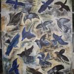 Svarta fåglar i stan akryl/äggtempera Pris: 5.200:-