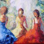 Tre systrar Akryl 45x38 cm Såld