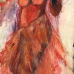 Spanjorska i rött 43x92 cm olja Pris 2.900:-