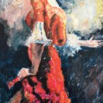 Flamenco 75x50 cm olja Pris 2.500:-