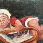Liten jultomte sover 25x15 cm olja Pris 1.500:-