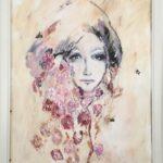 Omgiven av rosor men inte glad akvarell 50x70 cm Såld