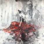 Danserskan i Jeres olja/akryl 50x55 cm Pris 2.500:-